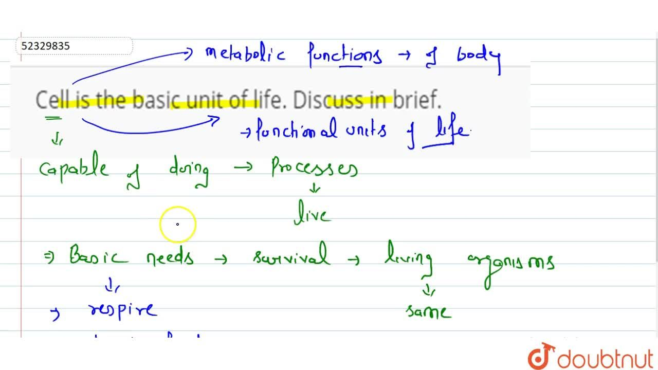 Solution for Cell is the basic unit of life. Discuss in brief.