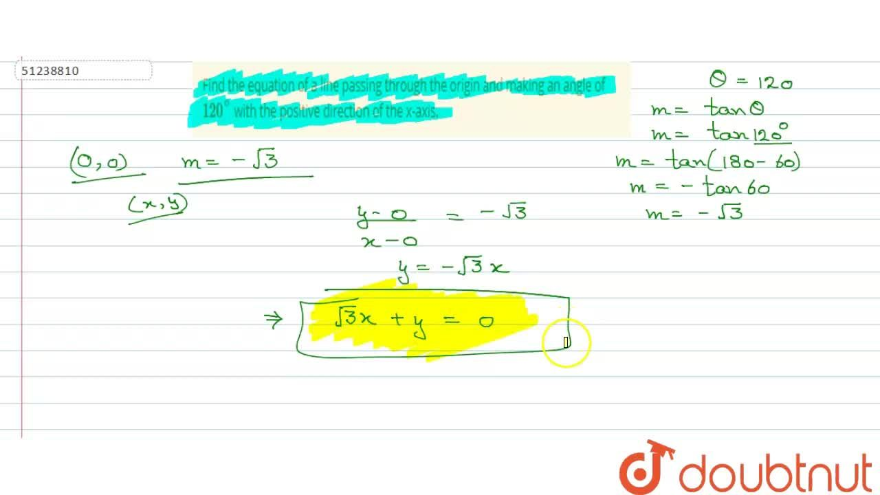 Solution for Find the equation of a line passing through the or
