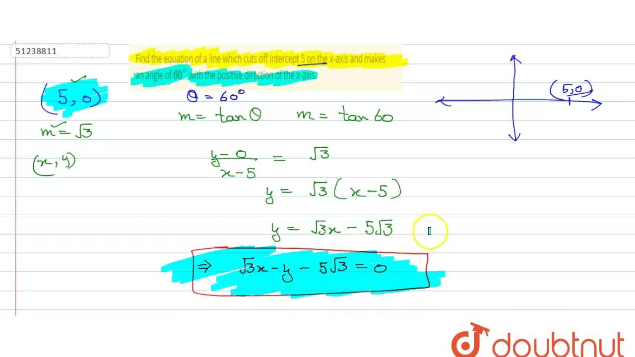 Solution for Find the equation of a line which cuts off interce