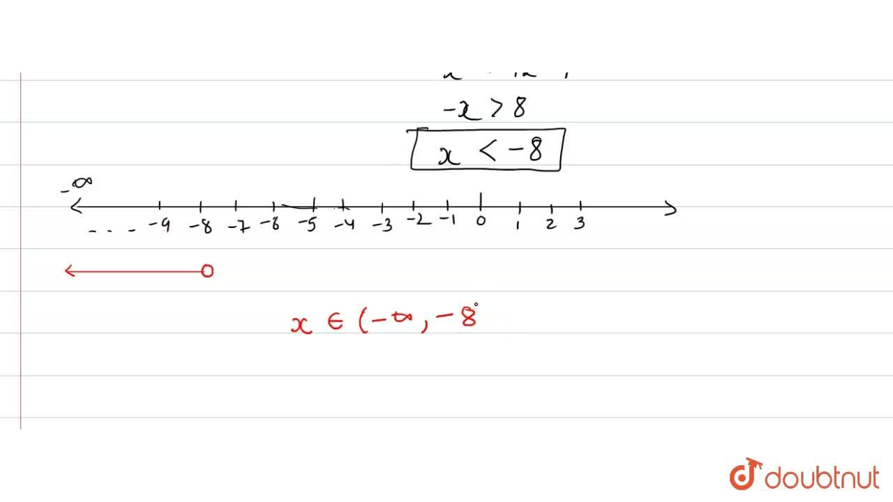 """Solve each of the following inequations and represent the solution set on the  number line. <br> (5x),(4)-(4x-1),(3)gt1,"""" where """" x in R."""