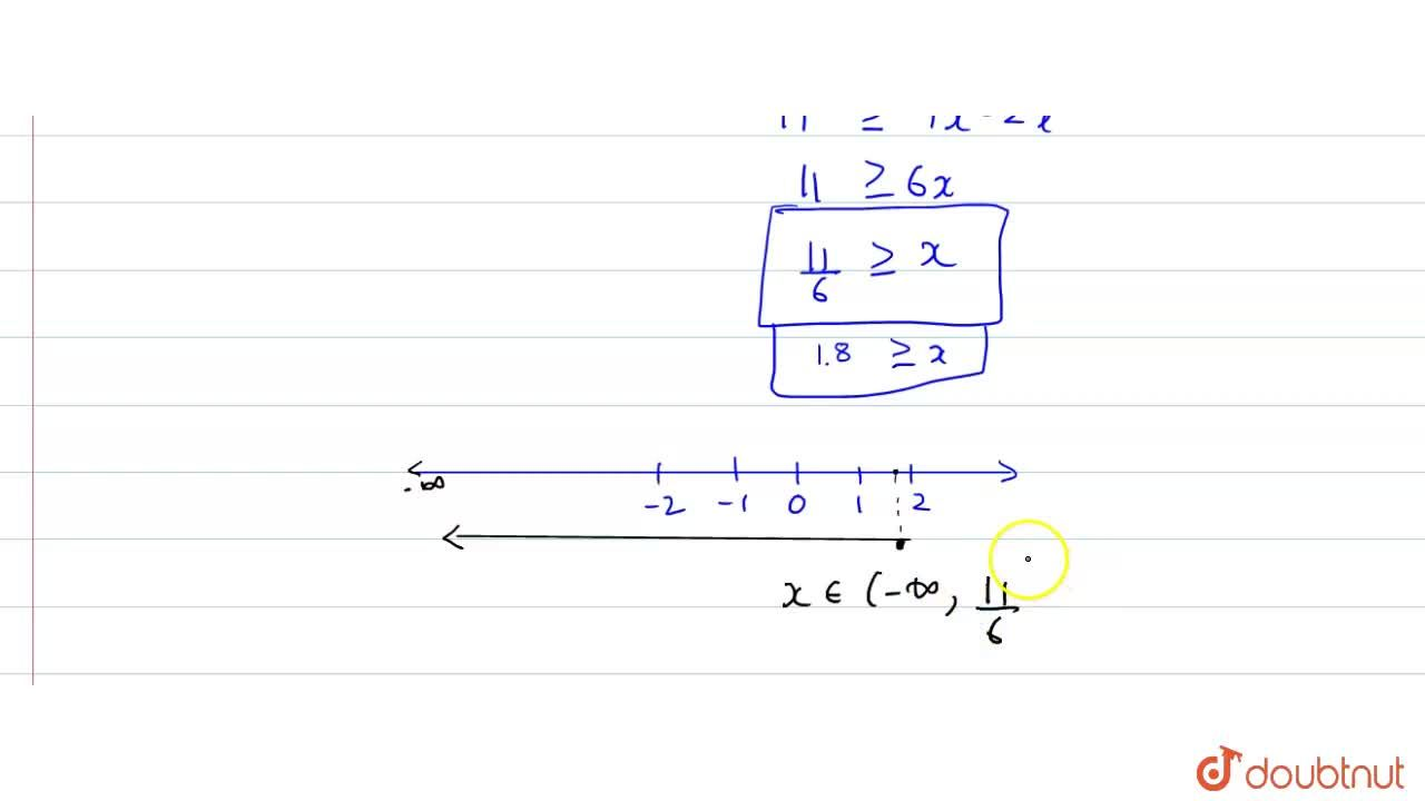 "Solve each of the following inequations and represent the solution set on the  number line. <br> (1),(4)((2),(3)x+1)ge(1),(3)(x-2),"" where "" x in R."