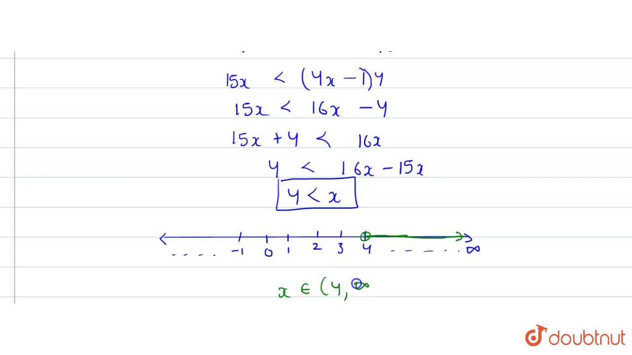 "Solve each of the following inequations and represent the solution set on the  number line. <br> (x),(4)lt((5x-2)),(3)-((7x-3)),(5),"" where "" x in R."