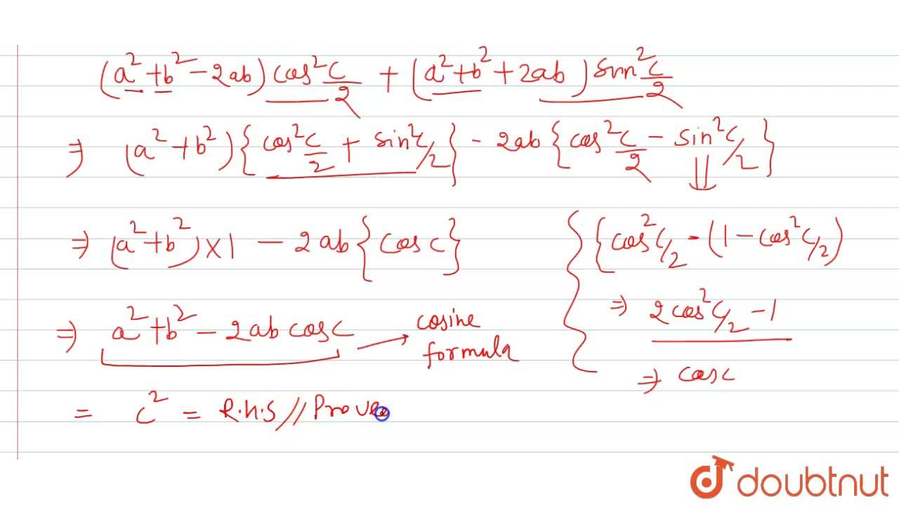 """Solution for In any DeltaABC, prove that (a-b)^(2)cos^(2)""""""""C"""