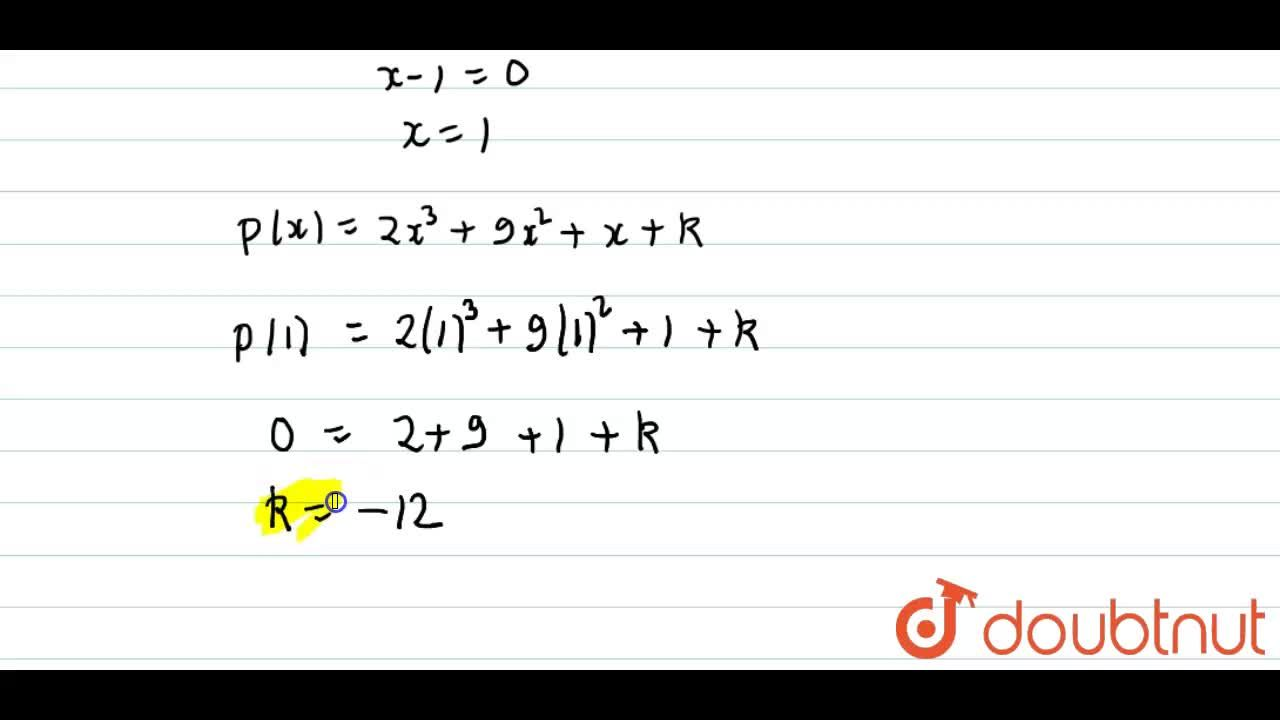Solution for Find  the value of k for which ( x-1) is a factor