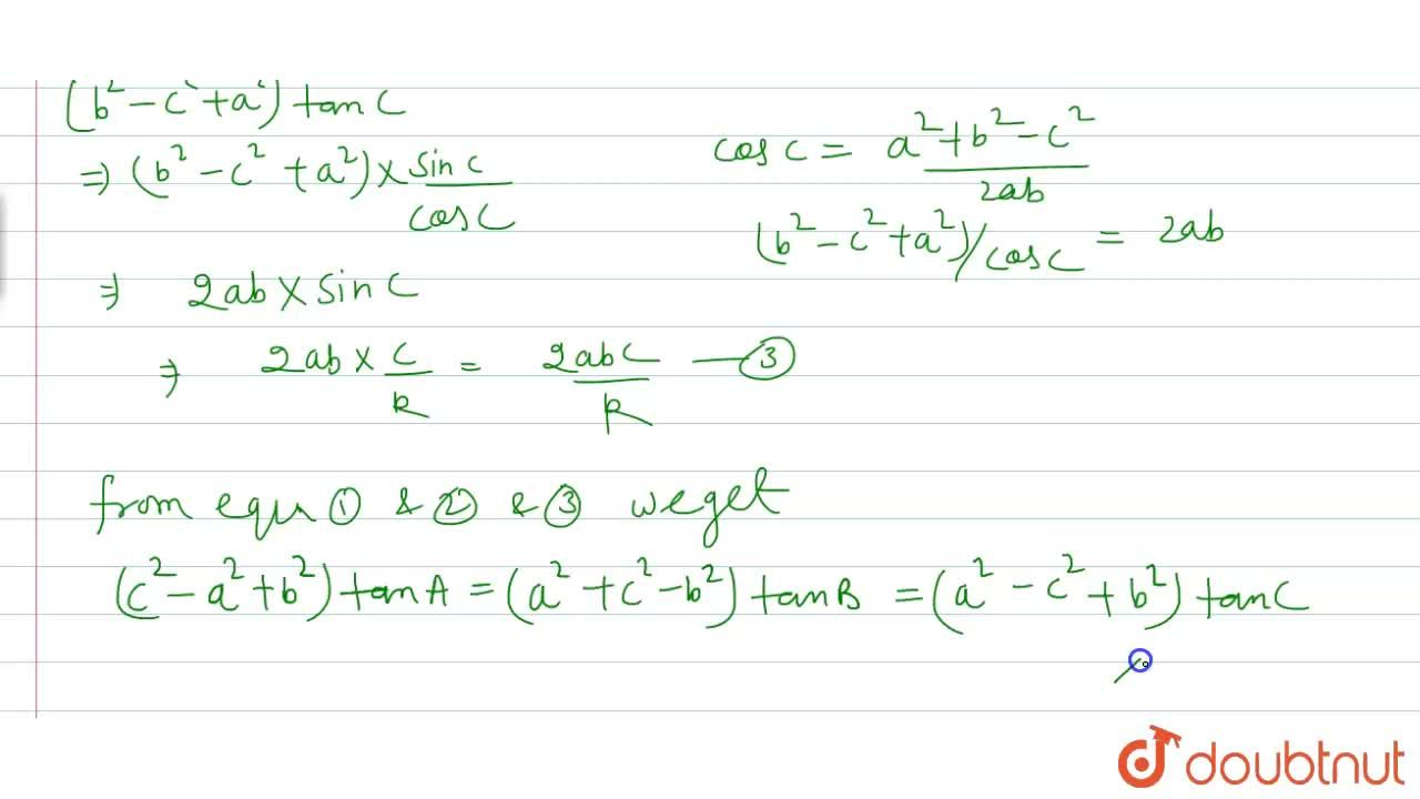 Solution for In any DeltaABC, prove that  (c^(2)-a^(2)+b^(2)