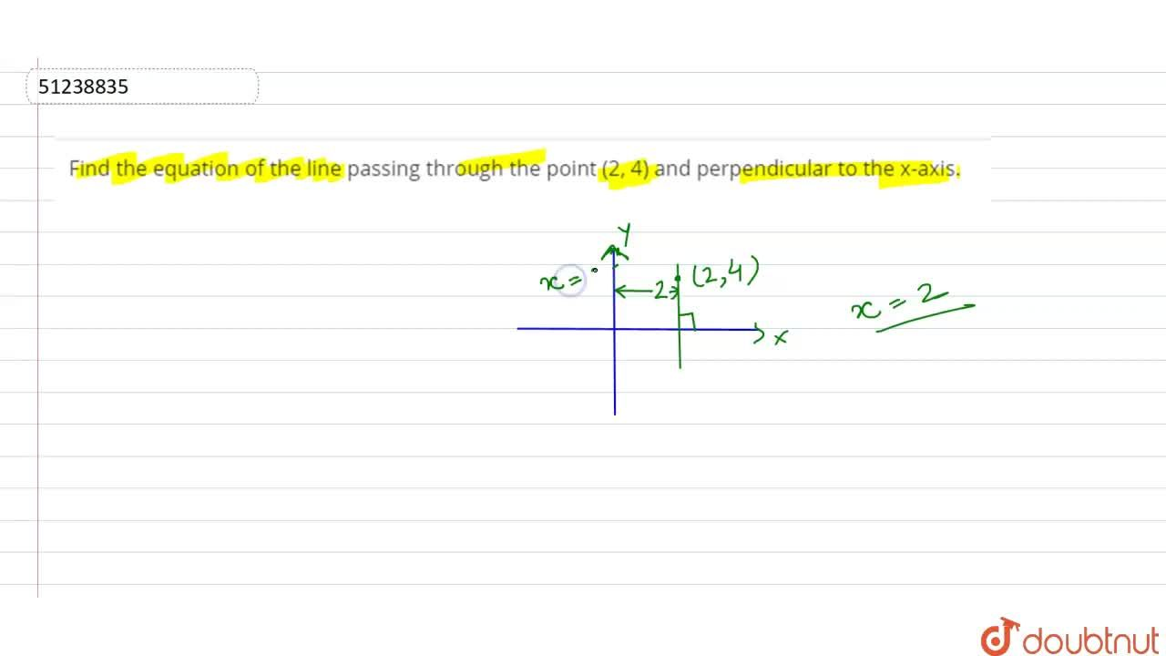Find the equation of the line passing through the point (2, 4) and perpendicular to the x-axis.