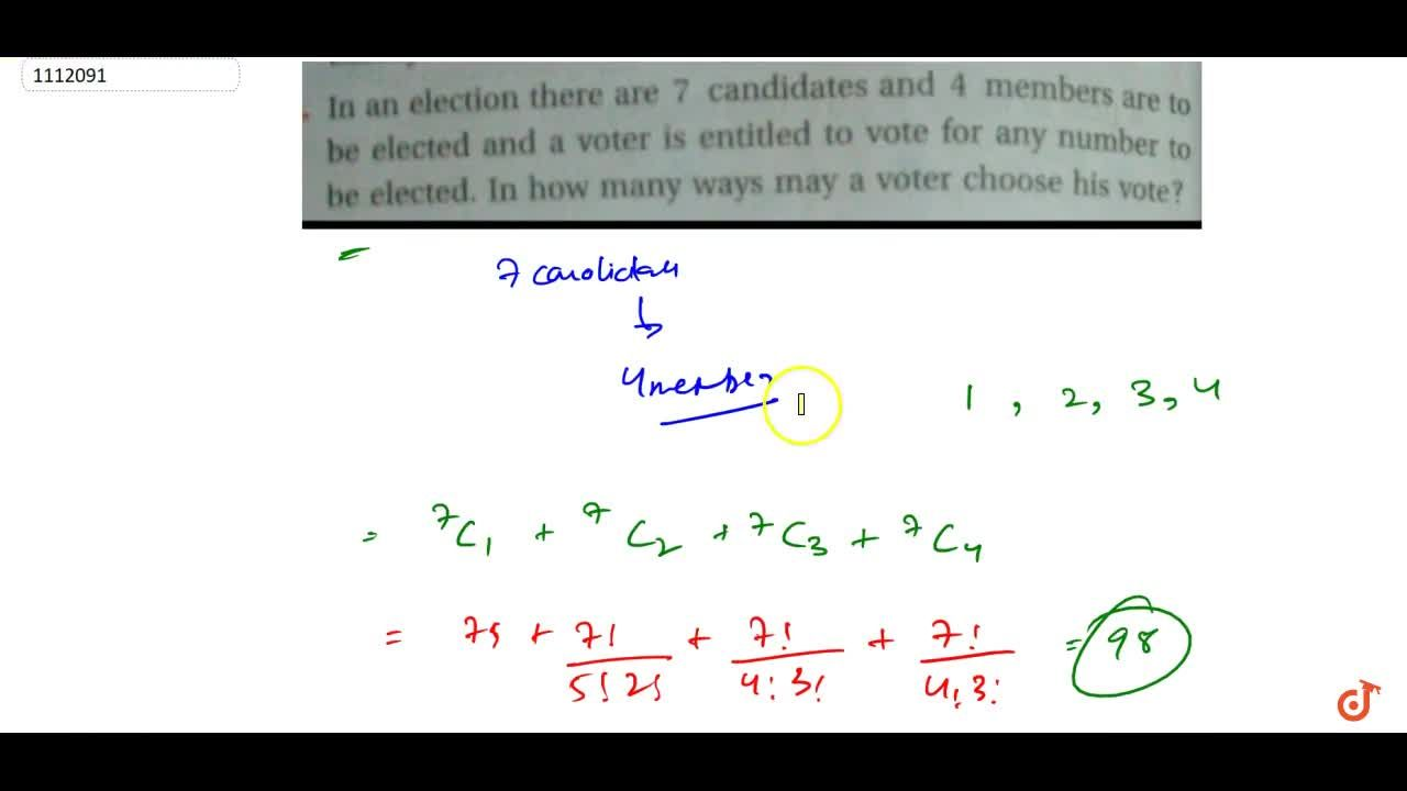 Solution for  15. In an election there are 7 candidates and 4 m