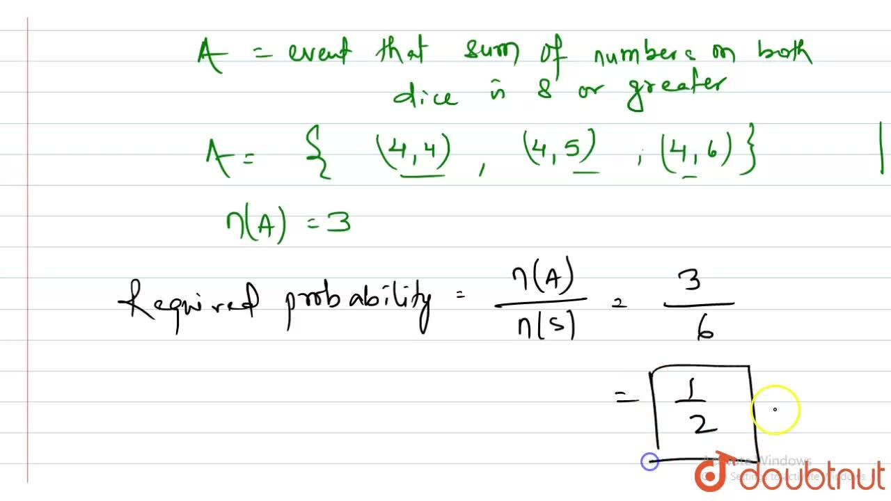 Solution for Two unbiased dice are thrown. Find the probability