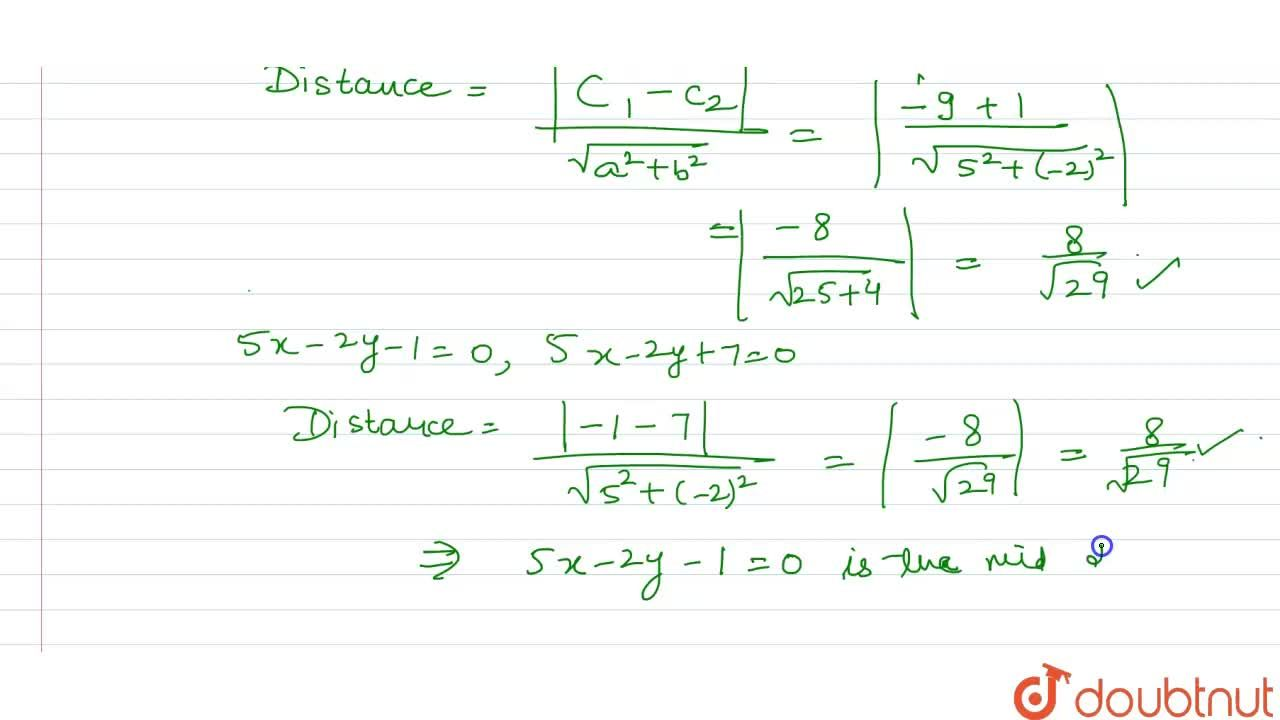 Solution for Prove that the line 5x-2y-1=0 is midpoint to the l