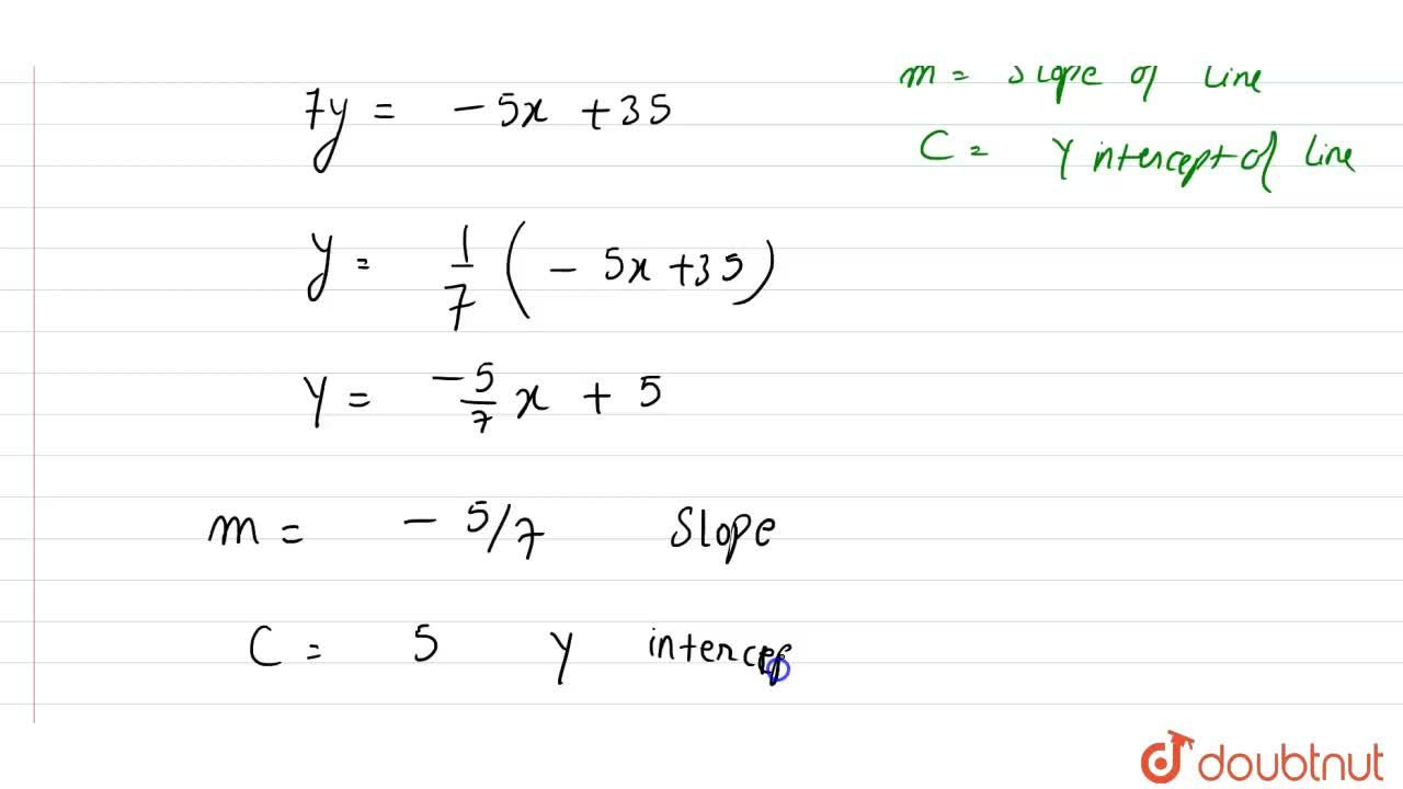 Reduce the equation 5x+7y-35=0 to slope-intercept form, and hence find the slope and the y-intercept of the line