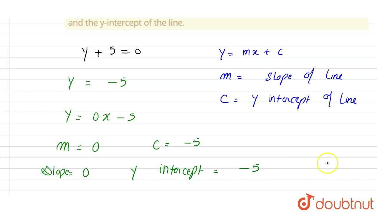 Reduce the equation y+5=0 to slope-intercept form, and hence find the slope and the y-intercept of the line.