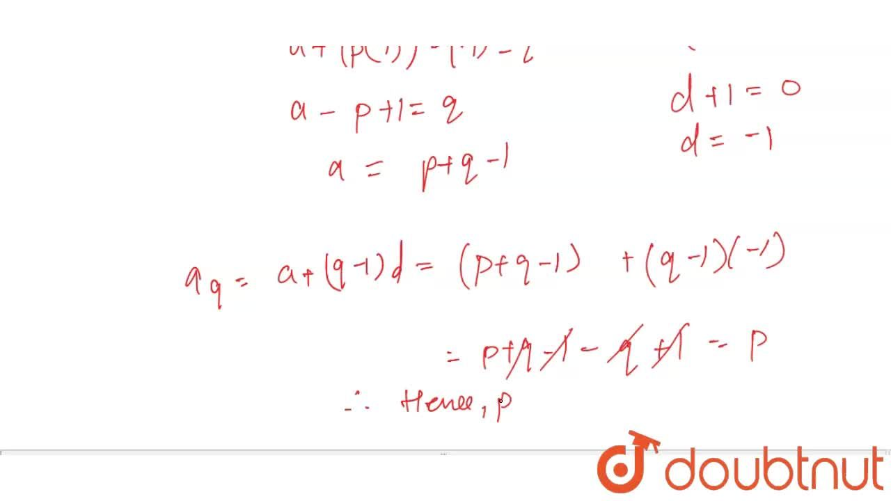 Solution for In an AP, the pth term is  q and ( p +q) term is 0
