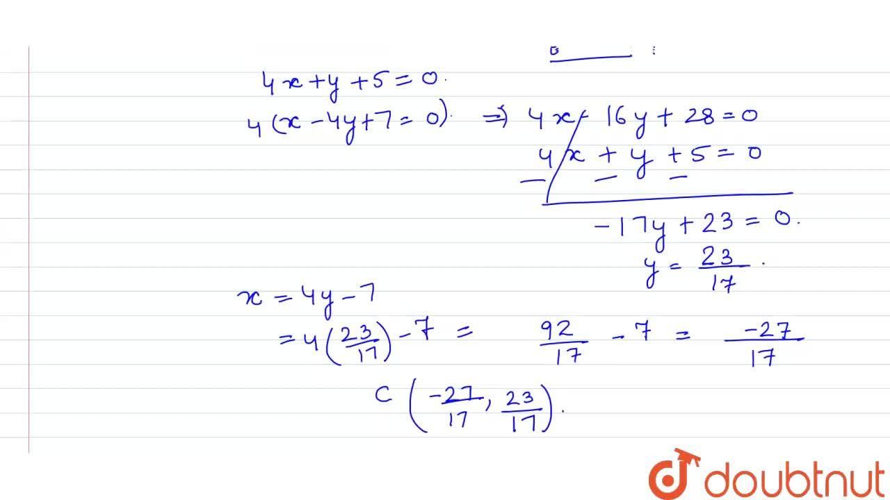 Solution for Find the equation of the perpendicular drawn from