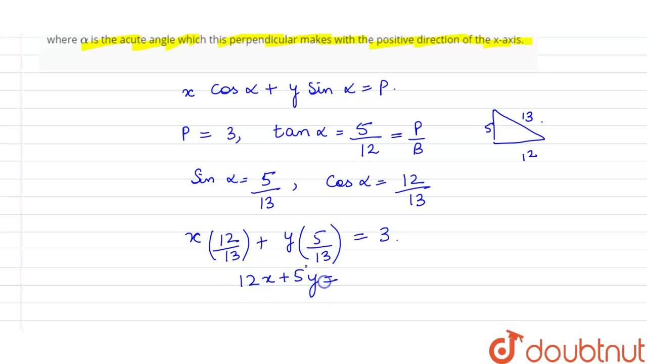 Solution for Find the equation of the line which is ata distanc
