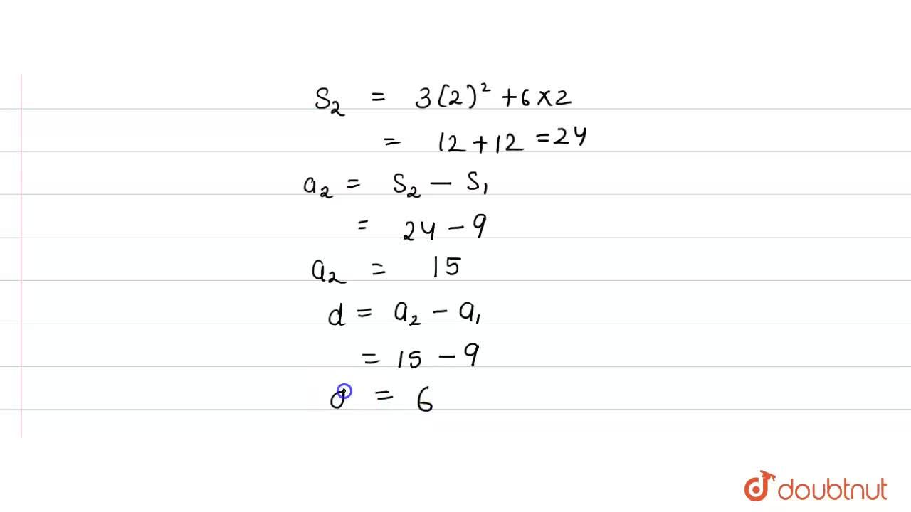 Solution for The sum of first n terms of an AP is (3n^(2) + 6n