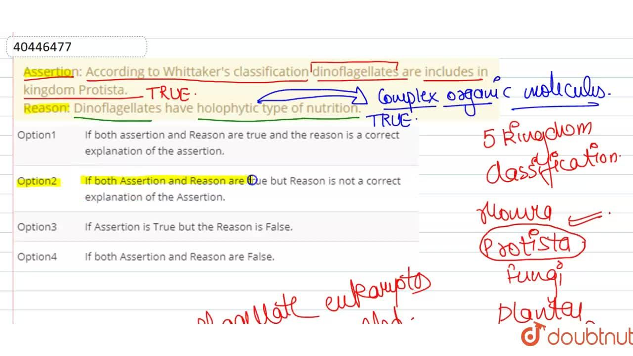 Solution for Assertion: According to Whittaker's classification