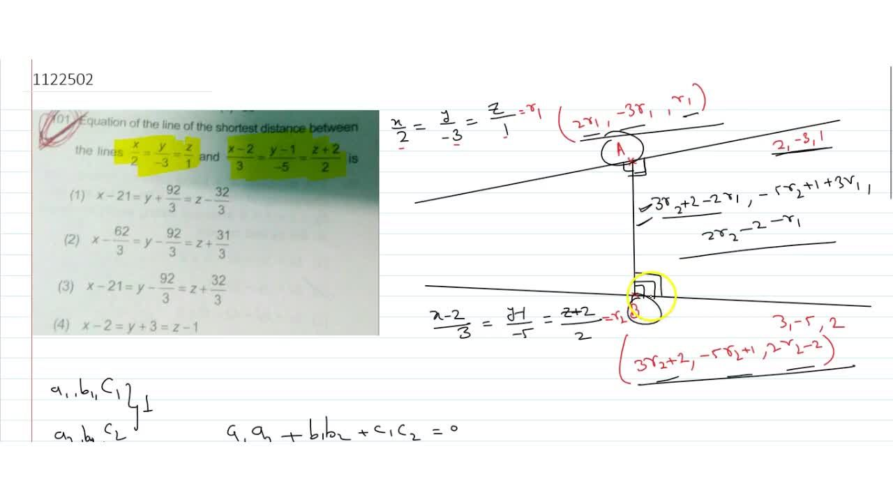 Solution for Equation of the line of the shortest distance betw