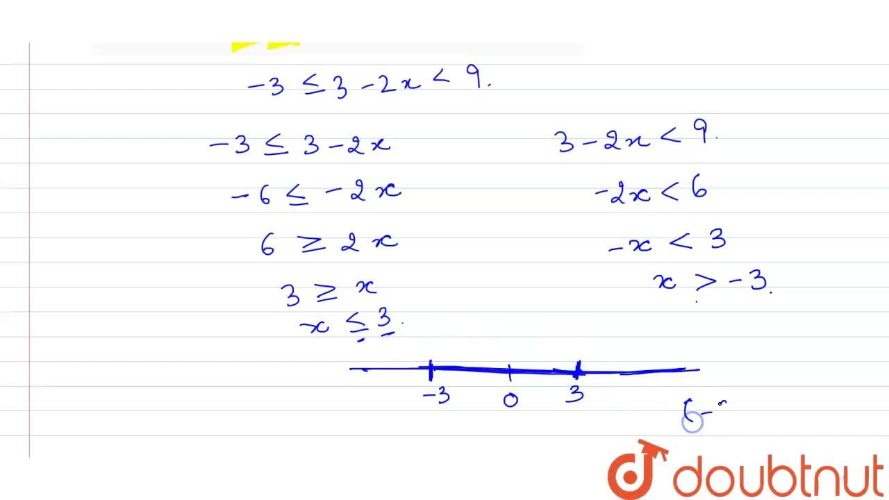 Solve the inequation -3le3-2x lt9, x in R. Represent the solution set on the real line.