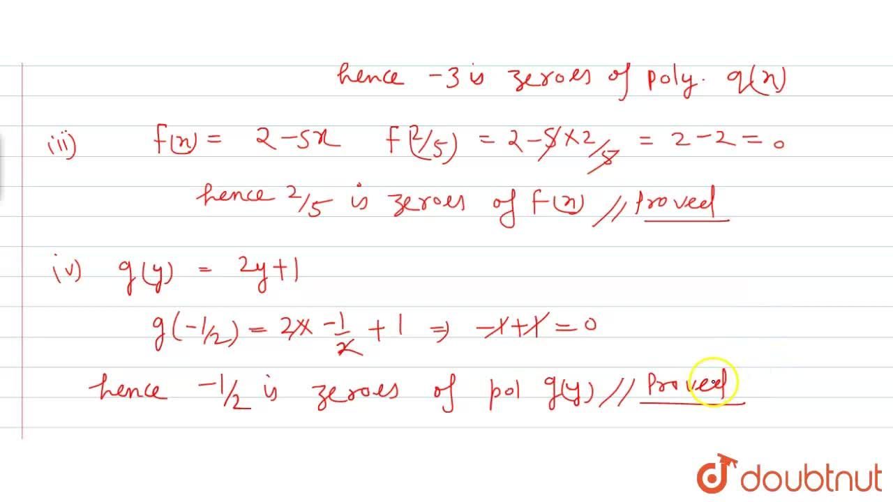 Solution for Verify that     (i)  4 is a zero of the polynomial