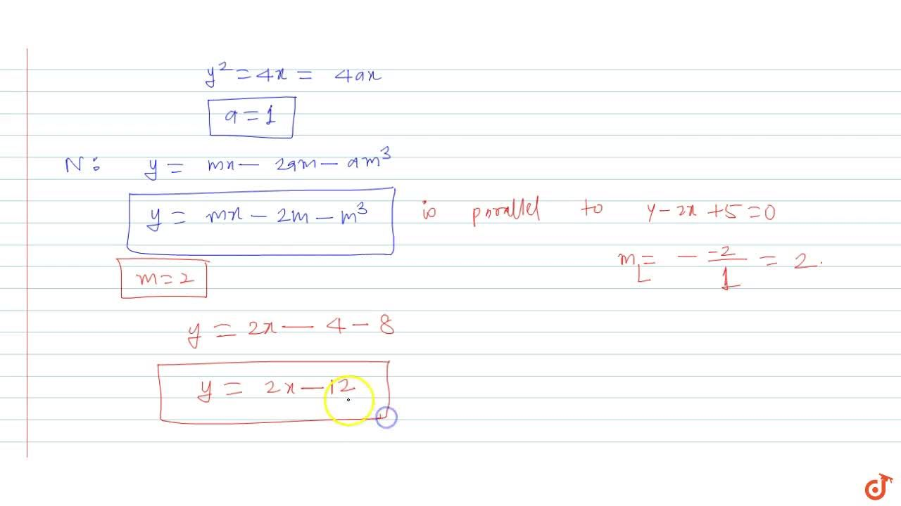 Solution for Find the equation of the normal to the parabola y
