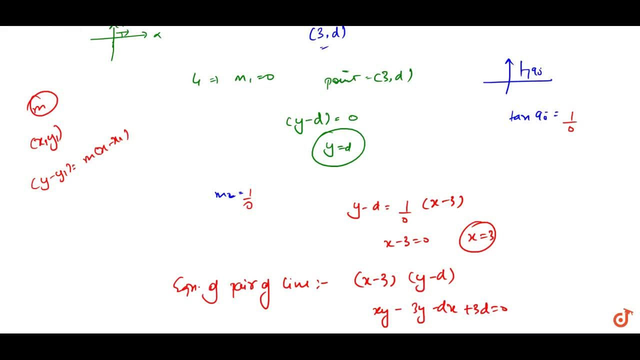 Solution for a pair of lines passing through the point (3,d) an