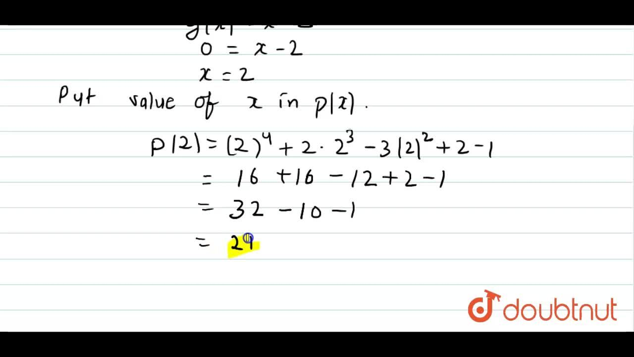 Solution for Find the remainder when the polynomial  p(x)=x^(4