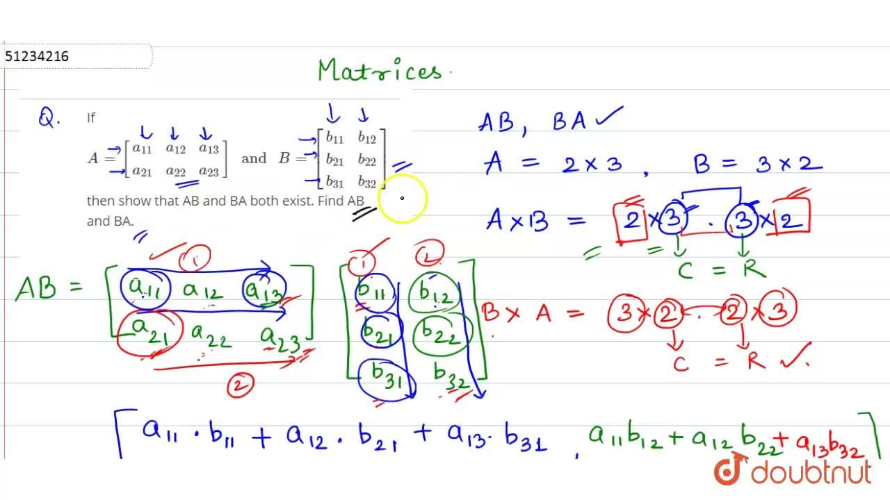 Solution for If A=[{:(a_(11),a_(12),a_(13)),(a_(21),a_(22),a_(