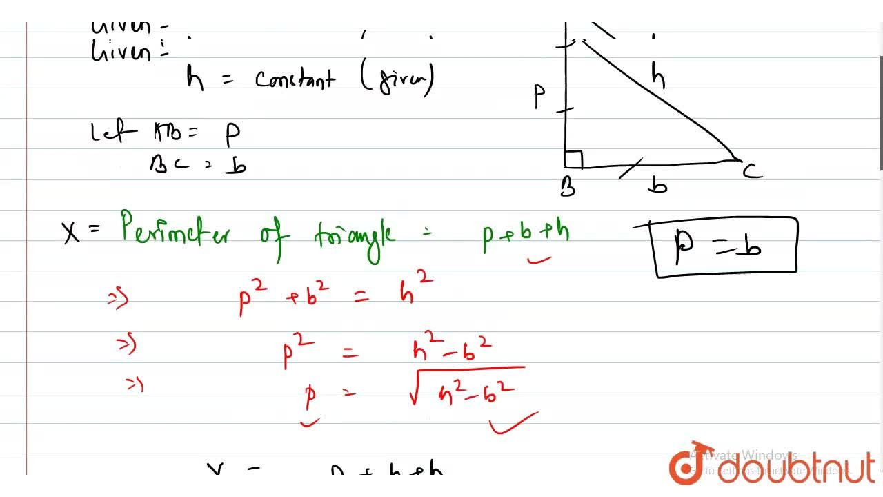 Solution for Prove that the perimeter of a right-angled triangl