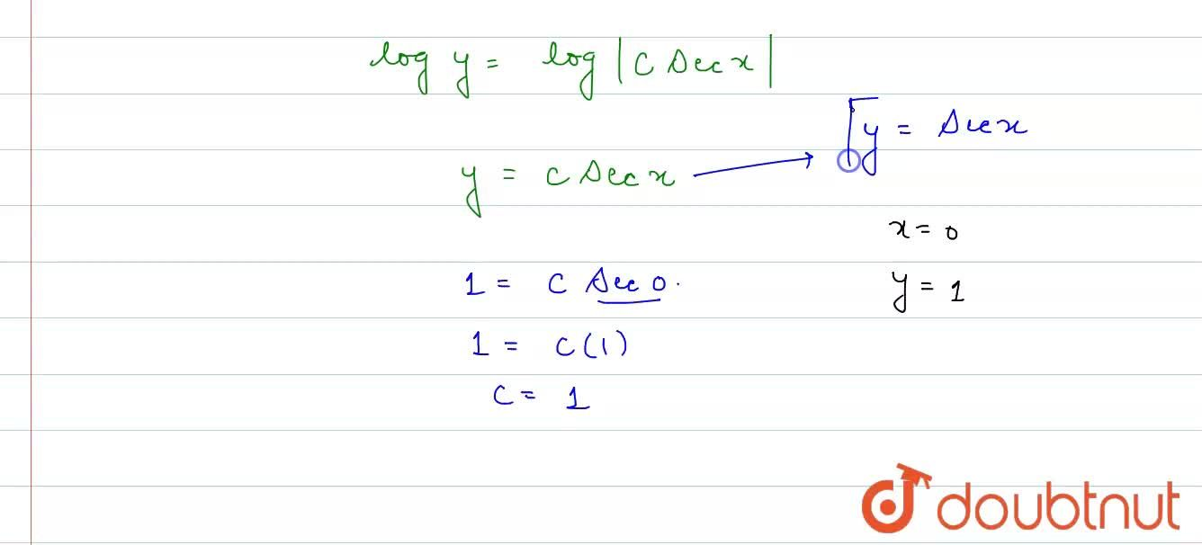 """Solve (dy),(dx)=y tan x, """" given that """" y=1 """" when """"  x=0."""