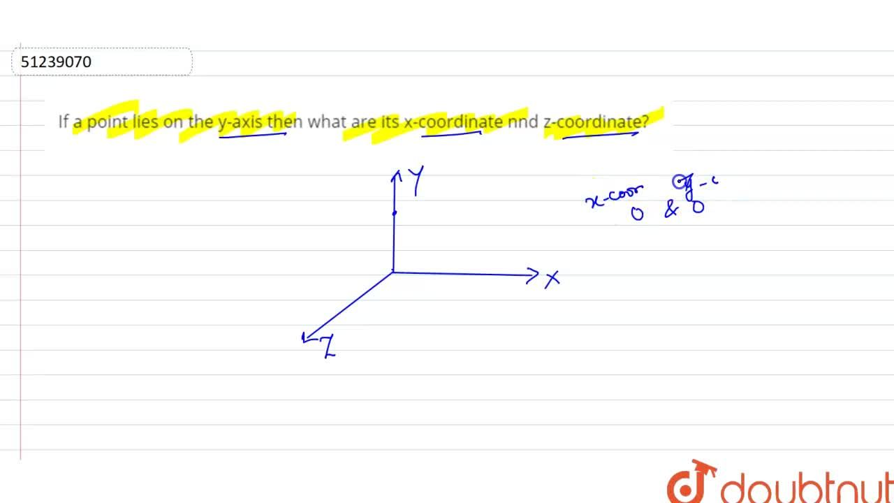 Solution for If a point lies on the y-axis then what are its x-