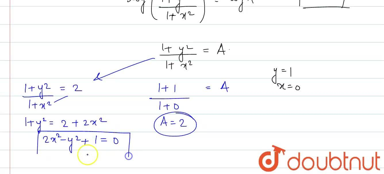 Find the particular solution of the differential equation x(1+y^(2))dx -y(1+x^(2))dy=0, given that y = 1 when x = 0.