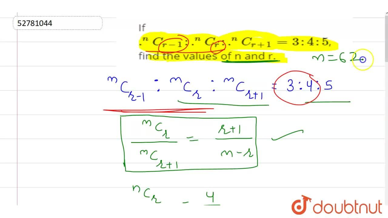 Solution for If .^(n)C_(r-1): .^(n)C_(r): .^(n)C_(r+1)=3:4:5,