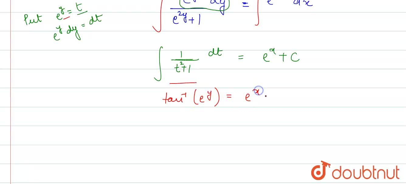 Find the general solution of each of the following  differential equations:  <br> (dy),(dx)=e^(x+y)+e^(x-y)
