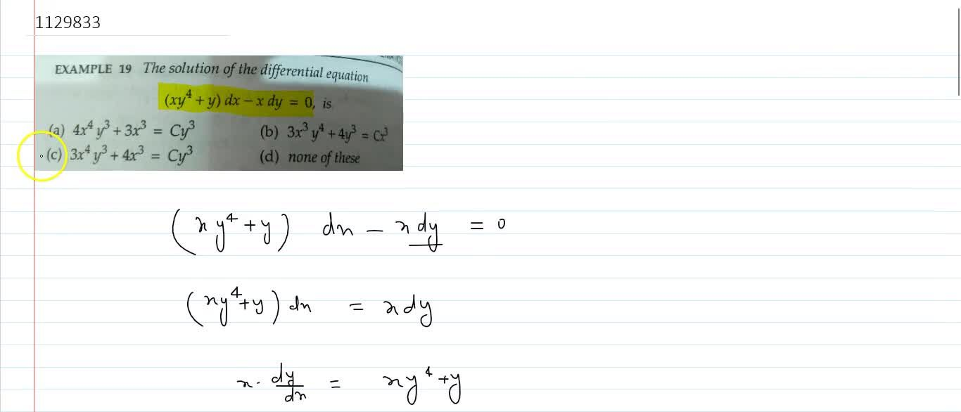 Solution for The solution of the differential equation (xy^4 +
