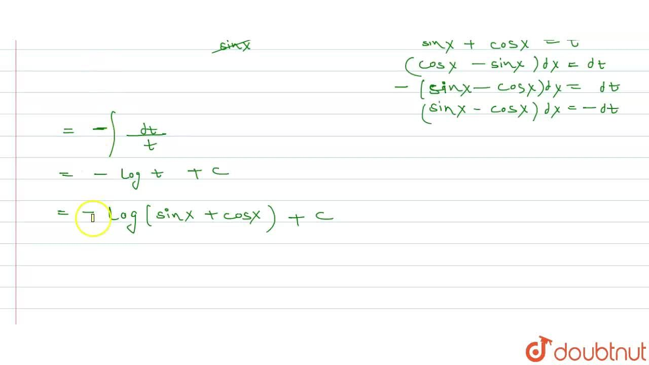 Solution for int ((1-cotx)),((1+cotx))dx.