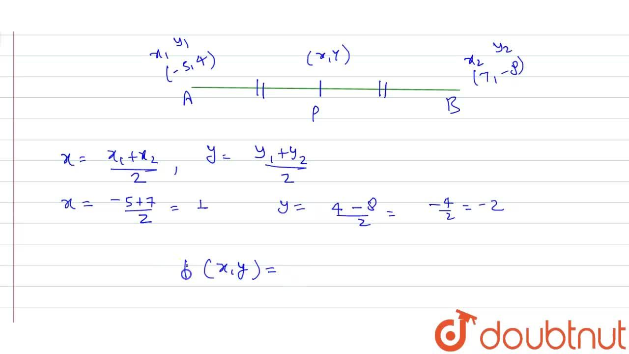 Find the coordinates of the midpoint of the line segment joining the points A(-5, 4) and B(7, -8).