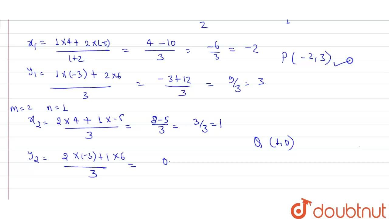 Find the coordinates of the points of trisection of the line segment joining the points A(-5, 6) and B(4, -3).
