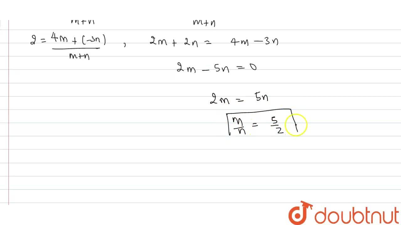 Solution for In what ratio does the  point P(2, -5) divide the