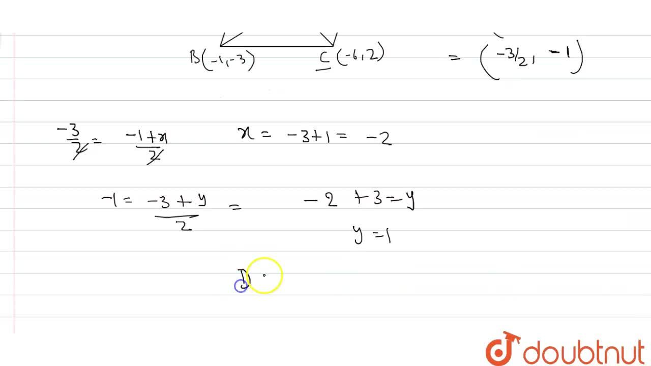 Solution for The three vertices of a parallelogram ABCD taken i