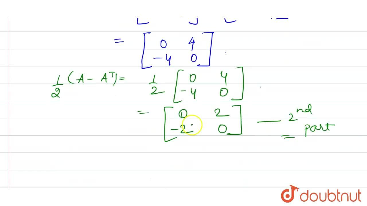 Solution for Express the matrix A=[{:(2,3),(-1,4):}] as the s