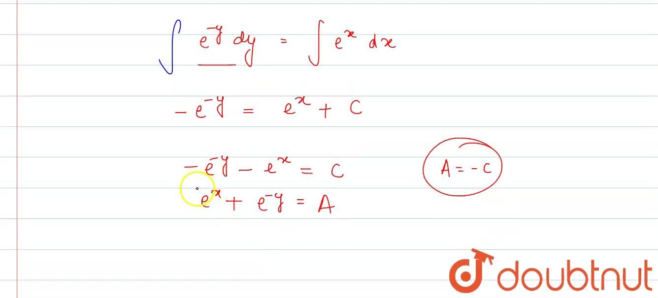 Find the general solution of each of the following differential equations: <br>   (dy),(dx)=e^(x+y)