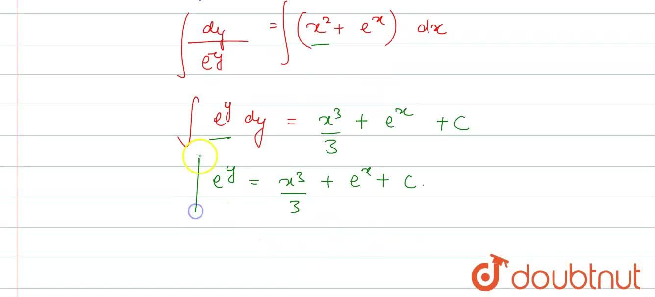 Find the general solution of each of the following differential equations: <br>   (dy),(dx)=e^(x-y)+x^(2)e^(-y)