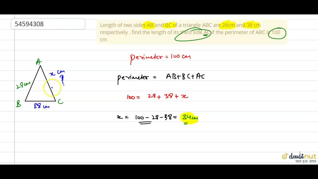Solution for Length of two sides AB and BC of a triangle ABC ar
