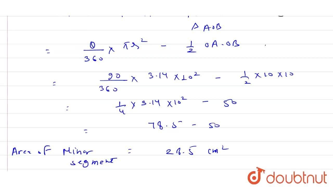Solution for A chord of a circle of radius  10 cm subtends a ri