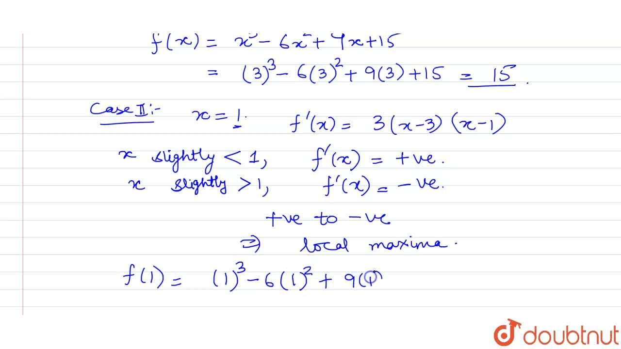 Solution for Find the local maxima or local minima of f(x) = x