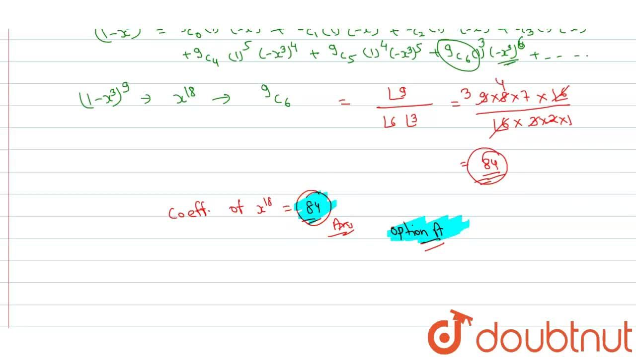 Solution for The cofficient of x^(18) in the product (1 + x)