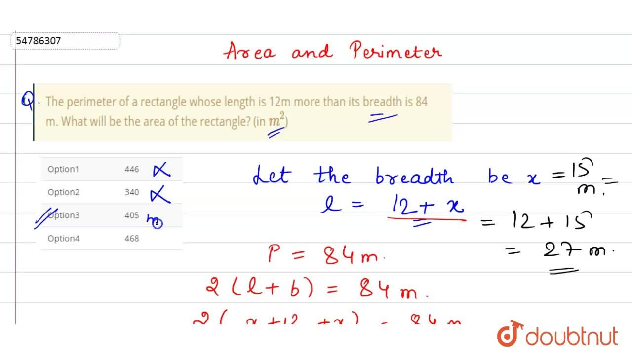 Solution for The perimeter of a rectangle whose length is 12m m