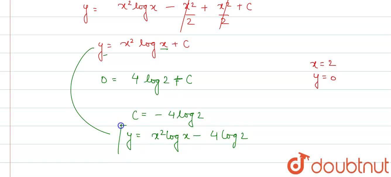 """Solve (dy),(dx)=x(2 log x +1), """" given that """" y =0 """" when """" x =2."""