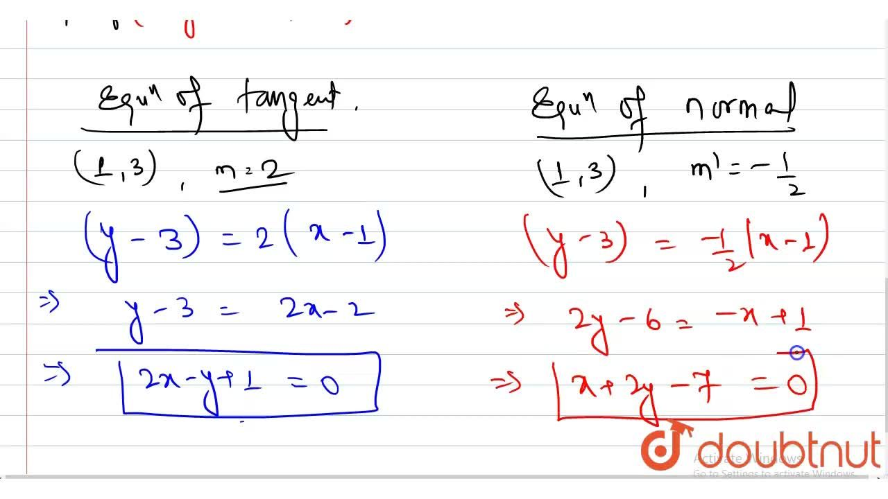 Solution for Find the equations of the tangent and the normal t
