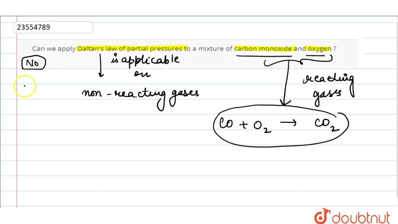 Solution for Can we apply Daltan's law of partial pressures to